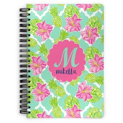 Preppy Hibiscus Spiral Bound Notebook (Personalized)