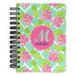Preppy Hibiscus Spiral Bound Notebook - 5x7 (Personalized)