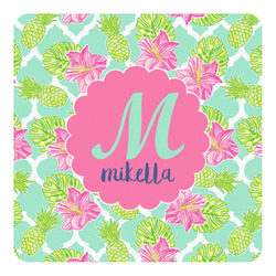 Preppy Hibiscus Square Decal (Personalized)