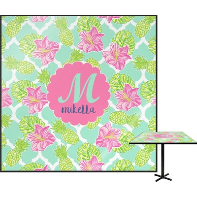 Preppy Hibiscus Square Table Top (Personalized)