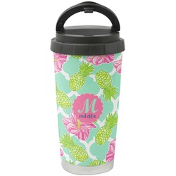 Preppy Hibiscus Stainless Steel Travel Mug (Personalized)