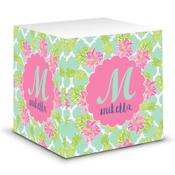 Preppy Hibiscus Sticky Note Cube (Personalized)