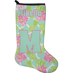 Preppy Hibiscus Holiday Stocking - Neoprene (Personalized)