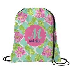 Preppy Hibiscus Drawstring Backpack (Personalized)