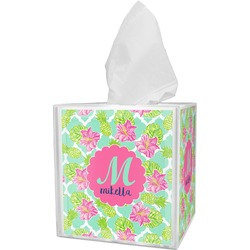 Preppy Hibiscus Tissue Box Cover (Personalized)