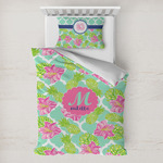 Preppy Hibiscus Toddler Bedding w/ Name and Initial