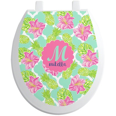 Preppy Hibiscus Toilet Seat Decal (Personalized)