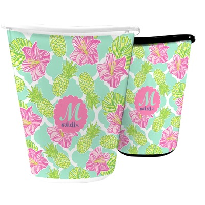 Preppy Hibiscus Waste Basket (Personalized)