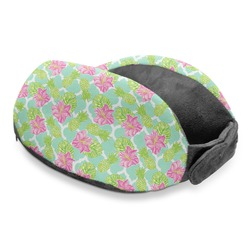Preppy Hibiscus Travel Neck Pillow (Personalized)