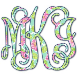 Preppy Hibiscus Monogram Decal - Custom Sized (Personalized)