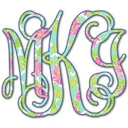 Preppy Hibiscus Monogram Decal - Medium (Personalized)