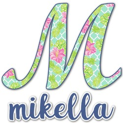 Preppy Hibiscus Name & Initial Decal - Custom Sized (Personalized)