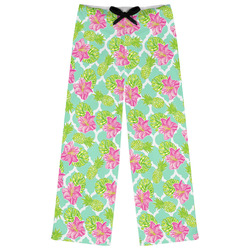 Preppy Hibiscus Womens Pajama Pants - M (Personalized)