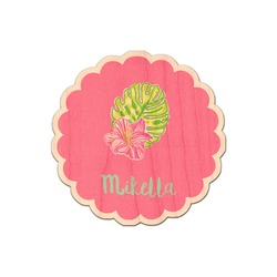 Preppy Hibiscus Genuine Maple or Cherry Wood Sticker (Personalized)