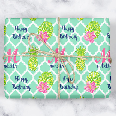 Preppy Hibiscus Wrapping Paper (Personalized)