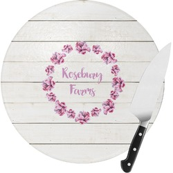 Farm House Round Glass Cutting Board - Small (Personalized)