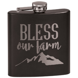 Farm House Black Flask Set (Personalized)