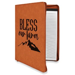 Farm House Leatherette Zipper Portfolio with Notepad (Personalized)