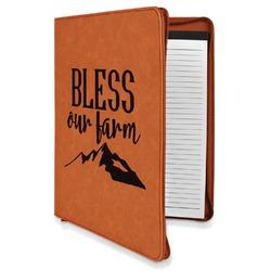 Farm House Leatherette Zipper Portfolio with Notepad (Personalized)