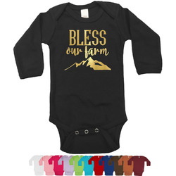 Farm House Foil Bodysuit - Long Sleeves - 6-12 months - Gold, Silver or Rose Gold (Personalized)