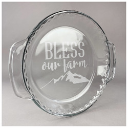 Farm House Glass Pie Dish - 9.5in Round (Personalized)