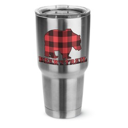 Lumberjack Plaid 30 oz Silver Stainless Steel Tumbler w/Full Color Graphics (Personalized)