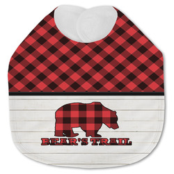 Lumberjack Plaid Jersey Knit Baby Bib w/ Name or Text
