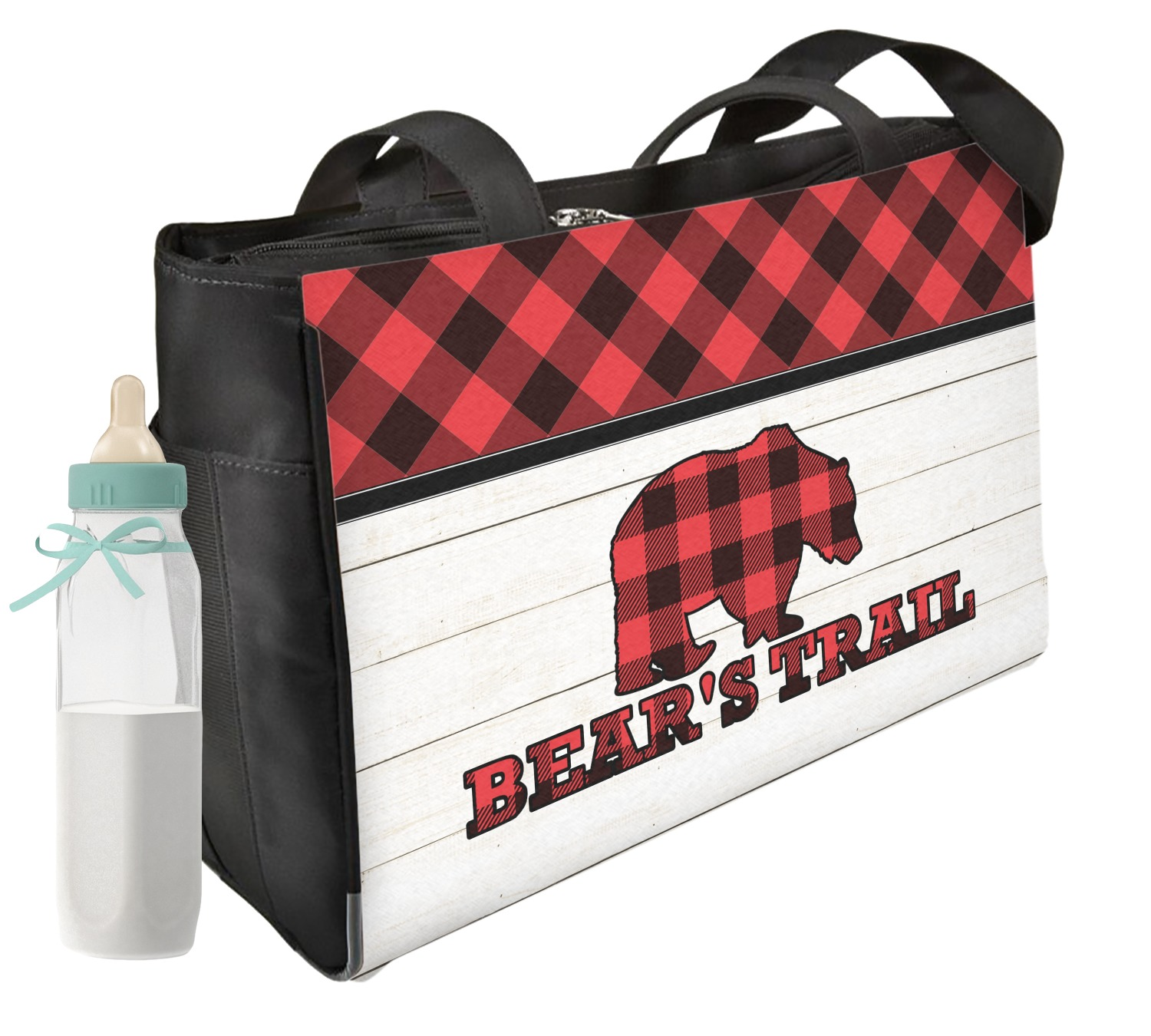 Lumberjack Plaid Diaper Bag Front Personalized