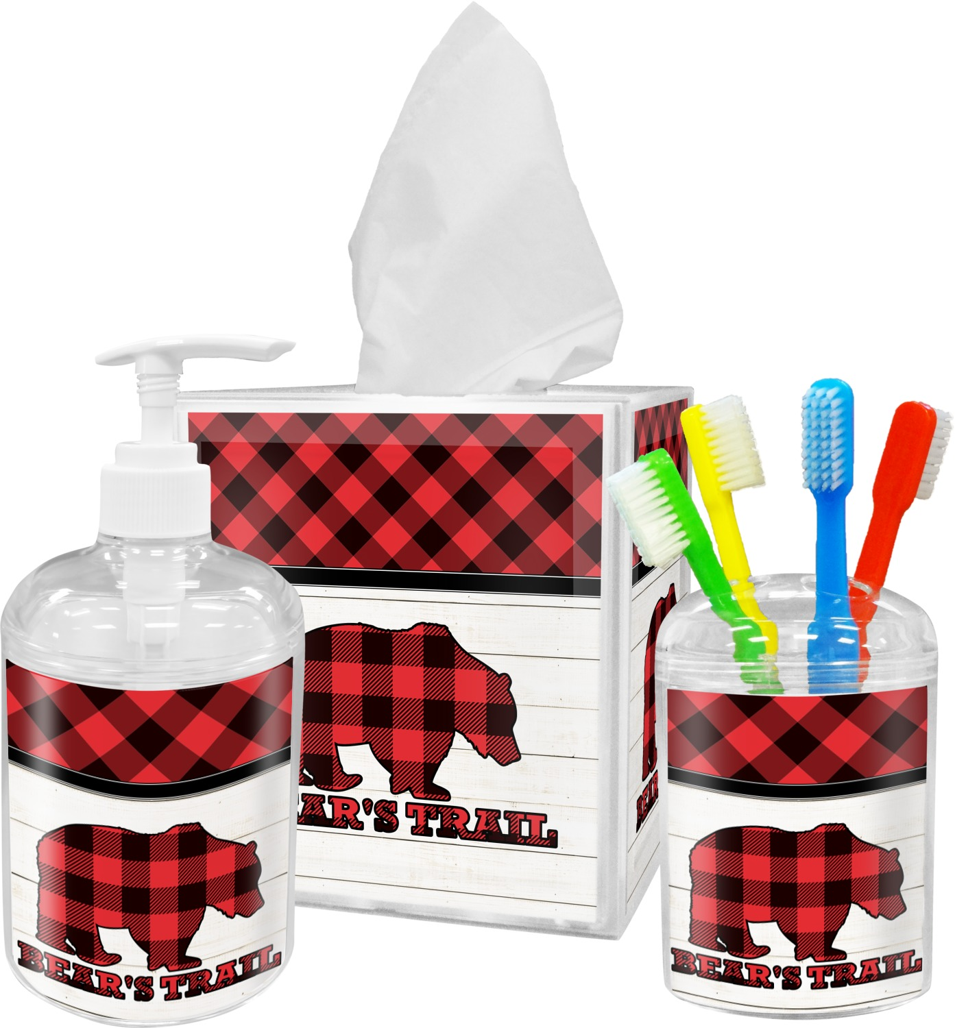 Lumberjack plaid bathroom accessories set personalized - Monogrammed bathroom accessories ...