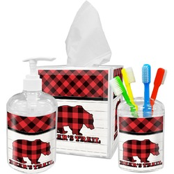 Lumberjack Plaid Acrylic Bathroom Accessories Set w/ Name or Text