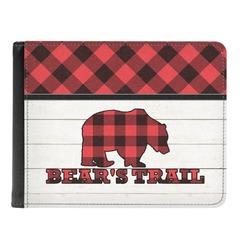 Lumberjack Plaid Genuine Leather Men's Bi-fold Wallet (Personalized)