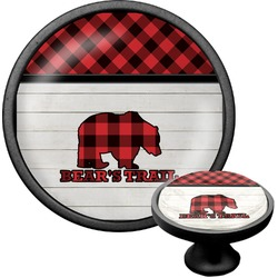 Lumberjack Plaid Cabinet Knob (Black) (Personalized)