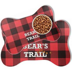 Lumberjack Plaid Bone Shaped Dog Food Mat (Personalized)