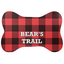 Lumberjack Plaid Bone Shaped Dog Food Mat (Personalized)