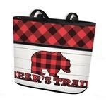 Lumberjack Plaid Bucket Tote w/ Genuine Leather Trim (Personalized)