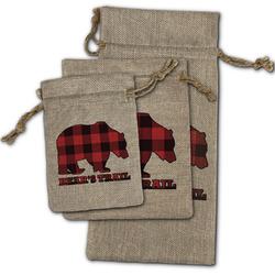 Lumberjack Plaid Burlap Gift Bags (Personalized)