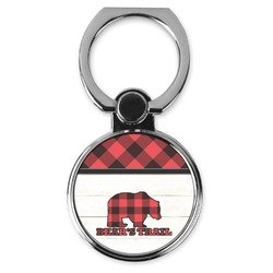 Lumberjack Plaid Cell Phone Ring Stand & Holder (Personalized)