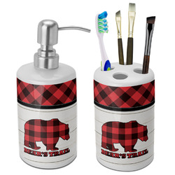 Lumberjack Plaid Bathroom Accessories Set (Ceramic) (Personalized)