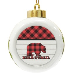 Lumberjack Plaid Ceramic Ball Ornament (Personalized)