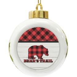 Lumberjack Plaid Ceramic Ball Ornament (Personalized)
