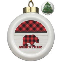 Lumberjack Plaid Ceramic Ball Ornament - Christmas Tree (Personalized)