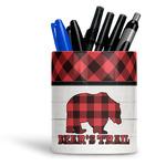 Lumberjack Plaid Ceramic Pen Holder