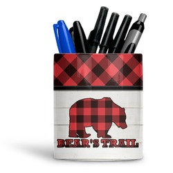 Lumberjack Plaid Ceramic Pen Holder