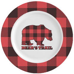 Lumberjack Plaid Ceramic Dinner Plates (Set of 4) (Personalized)