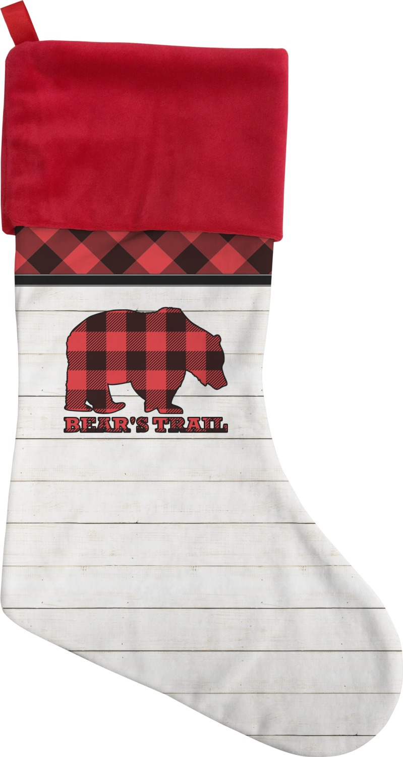 lumberjack plaid christmas stocking personalized youcustomizeit. Black Bedroom Furniture Sets. Home Design Ideas