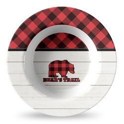 Lumberjack Plaid Plastic Bowl - Microwave Safe - Composite Polymer (Personalized)