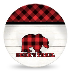Lumberjack Plaid Microwave Safe Plastic Plate - Composite Polymer (Personalized)