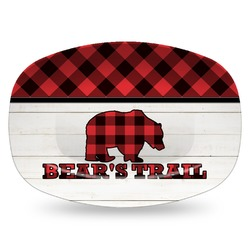 Lumberjack Plaid Plastic Platter - Microwave & Oven Safe Composite Polymer (Personalized)