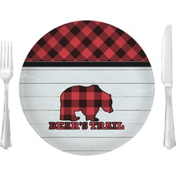 "Lumberjack Plaid Glass Lunch / Dinner Plates 10"" - Single or Set (Personalized)"