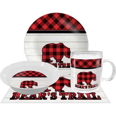 Lumberjack Plaid Dinner Set - Single 4 Pc Setting w/ Name or Text